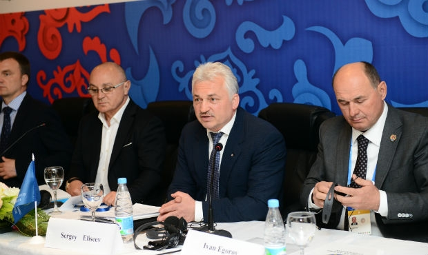 The portback election conference of the European Sambo Federation in Kazan: the newly elected president and the leaders of the European sambo