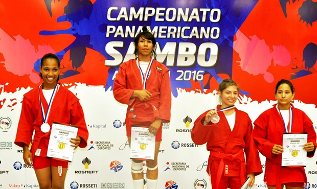 Final in the 48 kg weight class at the Pan American SAMBO Championships in Asunción: Maria Guedez' winning throw and painful hold