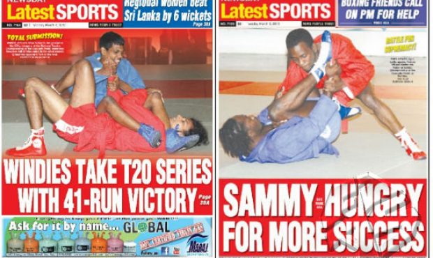 SAMBO on the front pages of Trinidad and Tobago newspapers
