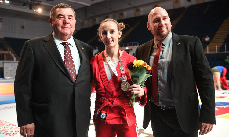 Vasily Shestakov congratulated Laure Fournier on her victory at the World SAMBO Championships