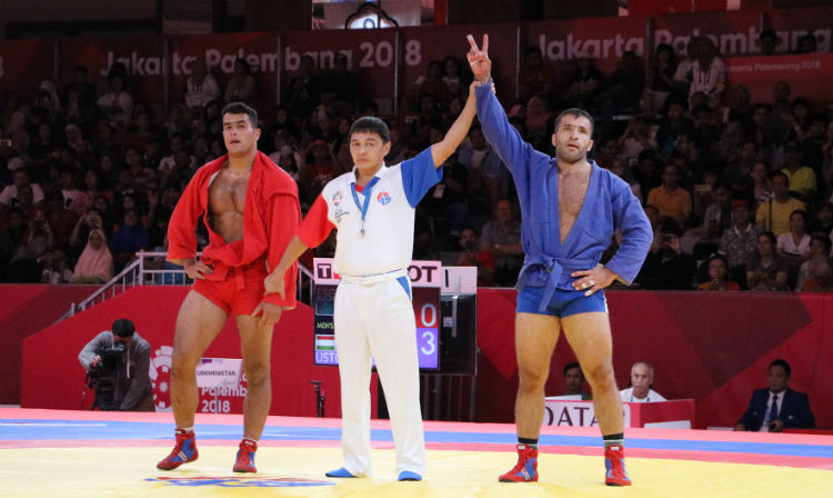 Winners of the 2 Day of the SAMBO Tournament at the Asian Games in Jakarta