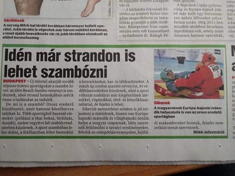 "[Mass media] Publication about SAMBO in the biggest Hungarian daily newspaper ""BLIKK"""