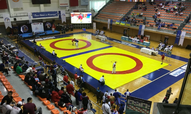 Winners and prize-winners of the First Day of the Open European Sambo Championship among Cadets