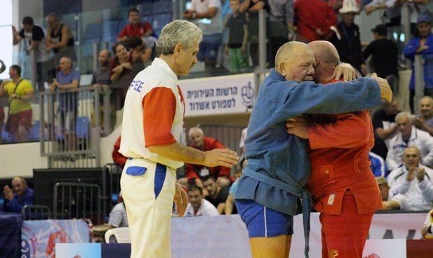 All the medalists of the second day of the World sambo Championship among masters in Ashdod