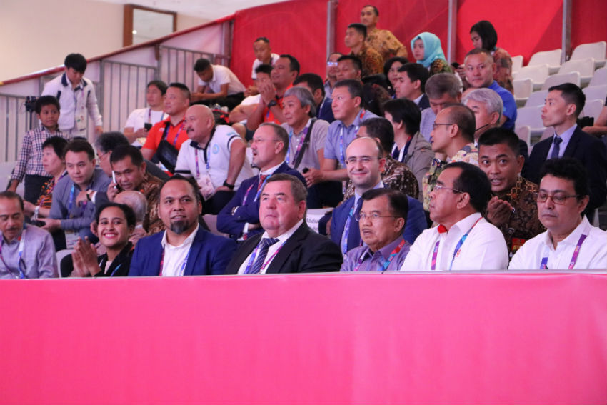 FIAS President and Vice-President of Indonesia Visited SAMBO tournament at the Asian Games