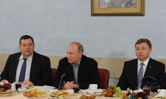 A meeting of Vladimir Putin, the Russian President and representatives of the world SAMBO community