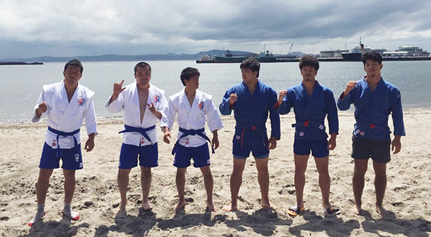 Japan Sambo Team getting ready to the Sambo Tournament at the Asian Beach Games