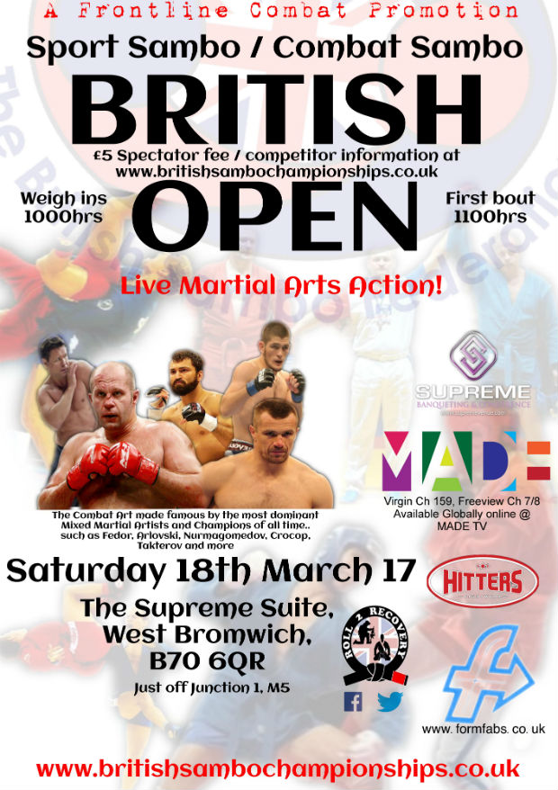 "Poster of the ""British Open"" Sambo Tournament"
