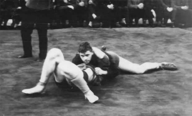 Valery Rukhledev wins a pinfall in SAMBO fight among the youth at the Ukrainian Championship. Odessa, 1964.